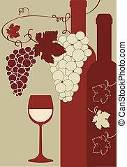 uvas, vidrio vino, botella