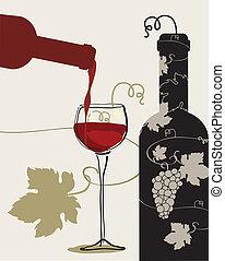 uvas, vidro vinho, garrafa