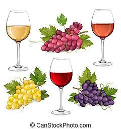 uvas, y, gafas vino