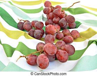 uve rosse, su, uno, strisce, tovaglia