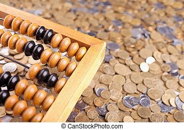 uważając, liczydło, monety, stos