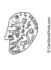 uważając, symbol, na, głowa