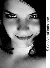 uwodzicielskie spojrzenie, od, niejaki, piękna kobieta