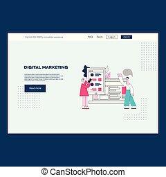 ux, marketing, cartaz, vetorial, ui, modelo, digital