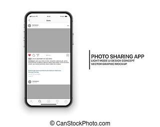 ux, vecteur, gabarit, app, conception, partage, mode, instagram, mobile, photo, concept, ui, lumière