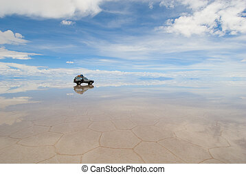 uyuni, jeep, de, lac, salar, bolivie, sel