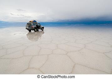 uyuni, jeep, de, meer, salar, bolivia, zout