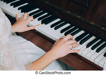 uzavřít, klavír hraní, up, ruce