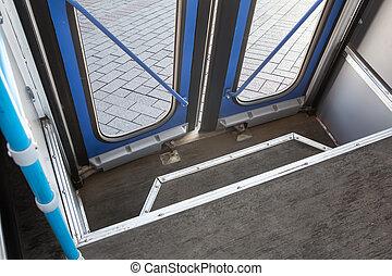 uzavřený, autobus, dveře, od, ta, jádro