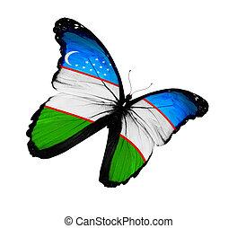Uzbek flag butterfly flying, isolated on white background