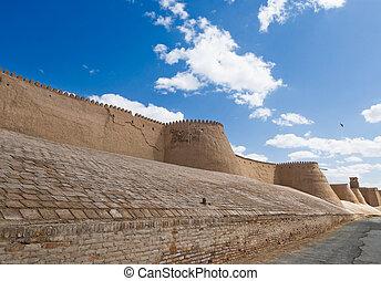 uzbekistán, paredes de la ciudad, antiguo, khiva