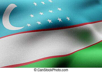 Uzbekistan 3d flag