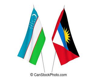 Uzbekistan and Antigua and Barbuda flags - National fabric ...