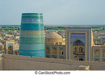 uzbekistan, città, antico, khiva, panorama