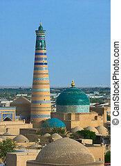 uzbekistan, città, antico, minareto, khiva