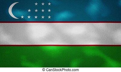 Uzbekistan dense flag fabric wavers, background loop - ...