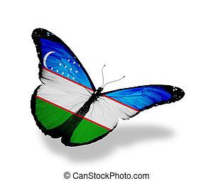 Uzbekistan flag butterfly flying, isolated on white background