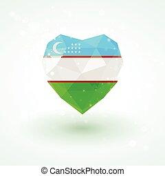 Uzbekistan flag in shape diamond glass heart. Triangulation style