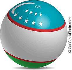 Uzbekistan flag on a 3d ball with shadow