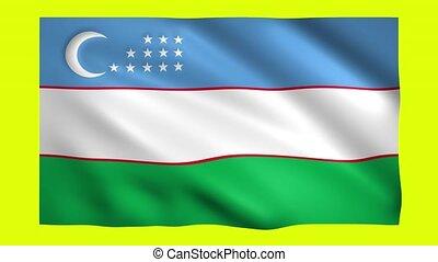 Uzbekistan flag on green screen for chroma key