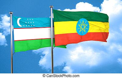Uzbekistan flag with Ethiopia flag, 3D rendering