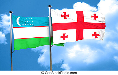 Uzbekistan flag with Georgia flag, 3D rendering