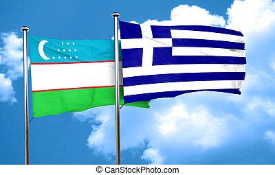Uzbekistan flag with Greece flag, 3D rendering