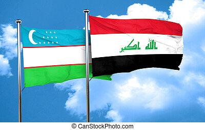 Uzbekistan flag with Iraq flag, 3D rendering