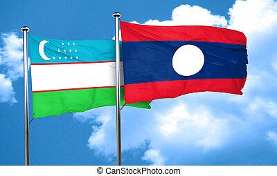 Uzbekistan flag with Laos flag, 3D rendering