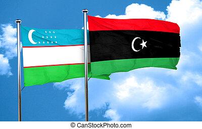 Uzbekistan flag with Libya flag, 3D rendering