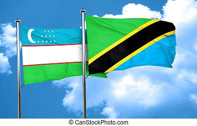 Uzbekistan flag with Tanzania flag, 3D rendering
