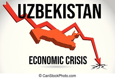 Uzbekistan Map Financial Crisis Economic Collapse Market Crash Global Meltdown Vector.