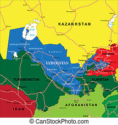 Highly detailed vector map of Uzbekistan with administrative regions, main cities and roads.