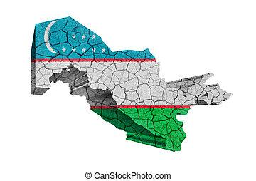 Uzbekistan territory on world map uzbekistan flag on old drawing map of uzbekistan on cracked texture isolated on white gumiabroncs Images