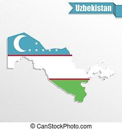 Uzbekistan map with flag inside and ribbon