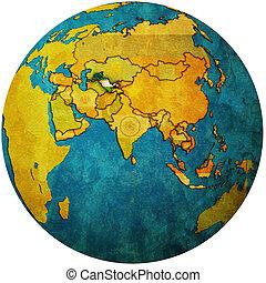 uzbekistan on globe map