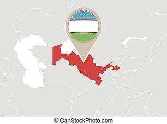 Zoom on uzbekistan map and flag world map eps vector search clip uzbekistan on world map gumiabroncs Images