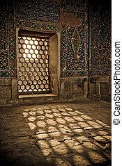 uzbekistan, registan, samarkand, detalhes, arquitetônico