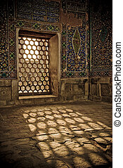 uzbekistan, registan, samarkand, detaljerna, arkitektonisk