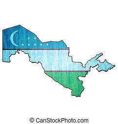 uzbekistan territory with flag