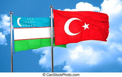 uzbekistan vlag, met, kalkoen vlag, 3d, vertolking