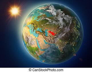 Uzbekistan with sunset on Earth