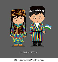 Uzbeks in national dress with a flag.