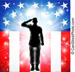 uzbrojony, na, pozdrawianie, wojska, bandera, wojskowy, żołnierz, sylwetka