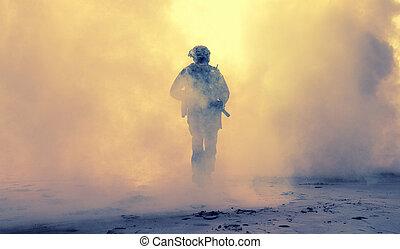 uzbrojony, piechota, w, dym, podczas, wojskowy, działanie