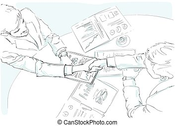 uzgodnienie, dokumenty, kąt, handlowy zaludniają, górny do góry, kontrakt, znak, rys, biurko, prospekt
