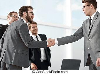 uzgodnienie, handlowy wzmacniacz, przed, niejaki, handlowy, meeting.