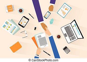 uzgodnienie, kąt, handlowy, posiedzenie, porozumienie, ludzie, znacząc, ręka, biznesmeni, potrząsanie, biurko, spotkanie, górny
