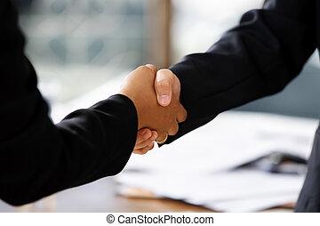 uzgodnienie, między, businesswomen, dwa