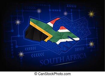 uzgodnienie, robiony, bandera, afryka., logo, południe